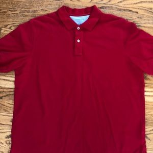 Lands End red collar shirt